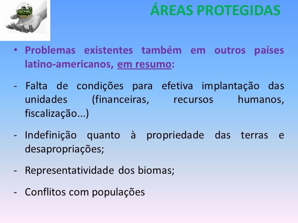 Problemas existentes também em outros países latino-americanos, em resumo: - Falta de condições para efetiva implantação das unidades (financeiras, re