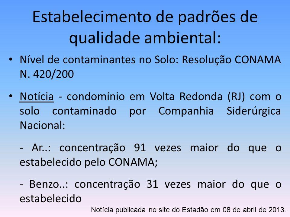 Estabelecimento de padrões de qualidade ambiental: Nível de contaminantes no Solo: Resolução CONAMA N. 420/200 Notícia - condomínio em Volta Redonda (