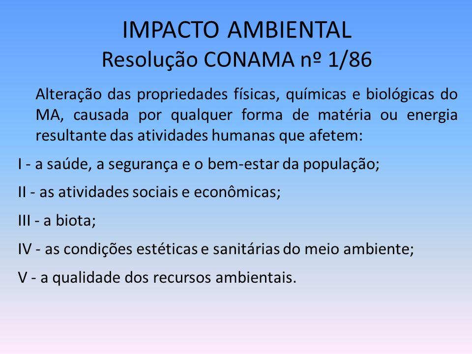 IMPACTO AMBIENTAL Resolução CONAMA nº 1/86 Alteração das propriedades físicas, químicas e biológicas do MA, causada por qualquer forma de matéria ou e