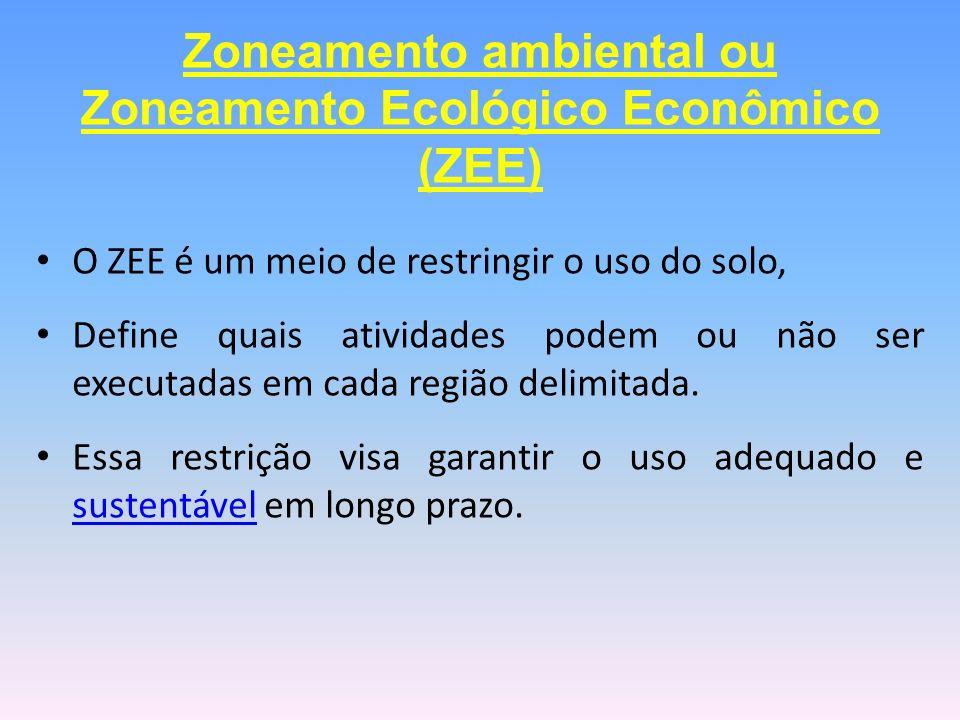 O ZEE é um meio de restringir o uso do solo, Define quais atividades podem ou não ser executadas em cada região delimitada. Essa restrição visa garant