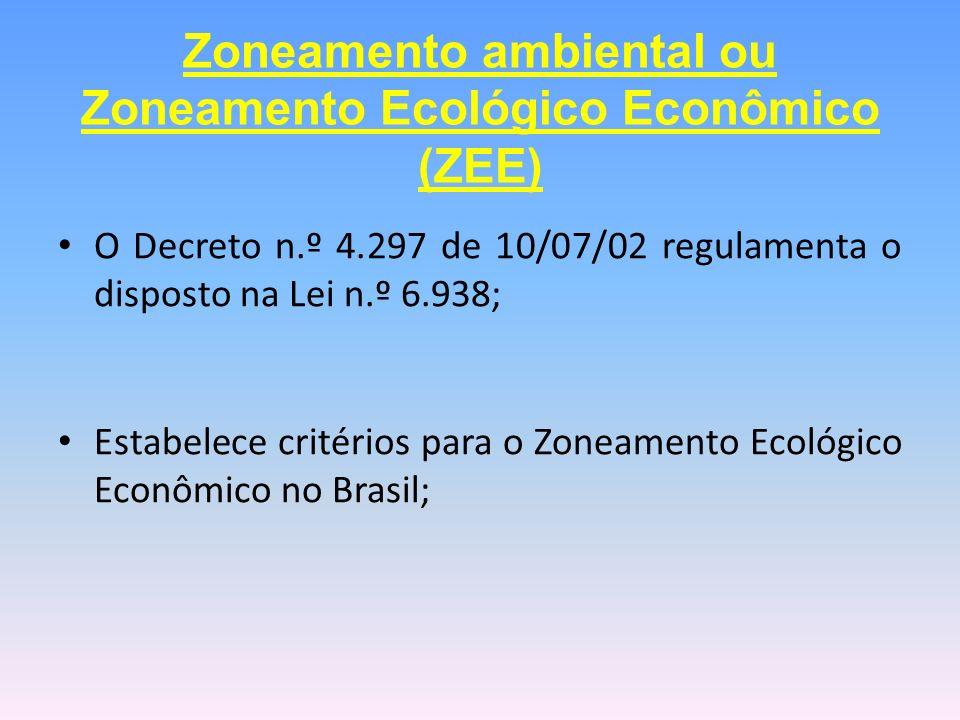 O Decreto n.º 4.297 de 10/07/02 regulamenta o disposto na Lei n.º 6.938; Estabelece critérios para o Zoneamento Ecológico Econômico no Brasil; Zoneame