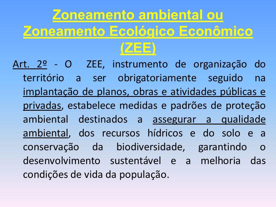 Art. 2º - O ZEE, instrumento de organização do território a ser obrigatoriamente seguido na implantação de planos, obras e atividades públicas e priva