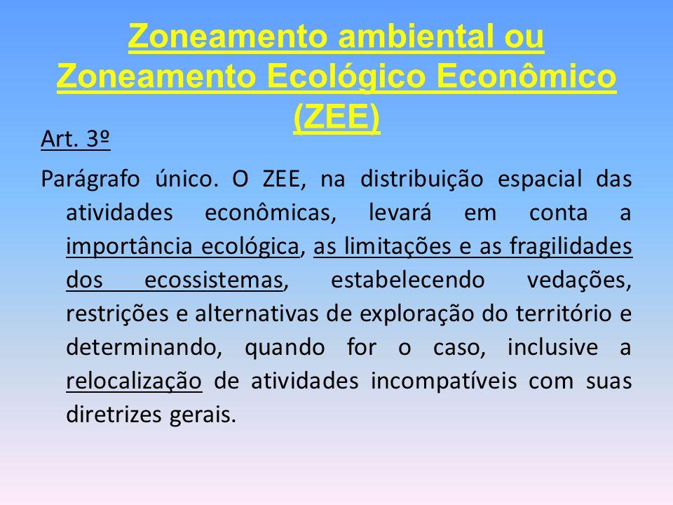 Art. 3º Parágrafo único. O ZEE, na distribuição espacial das atividades econômicas, levará em conta a importância ecológica, as limitações e as fragil