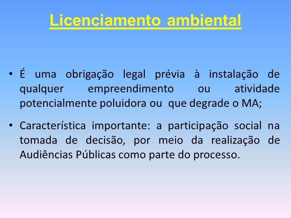 É uma obrigação legal prévia à instalação de qualquer empreendimento ou atividade potencialmente poluidora ou que degrade o MA; Característica importa
