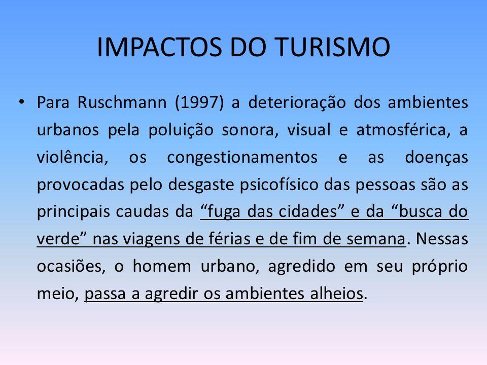 IMPACTOS DO TURISMO Para Ruschmann (1997) a deterioração dos ambientes urbanos pela poluição sonora, visual e atmosférica, a violência, os congestiona