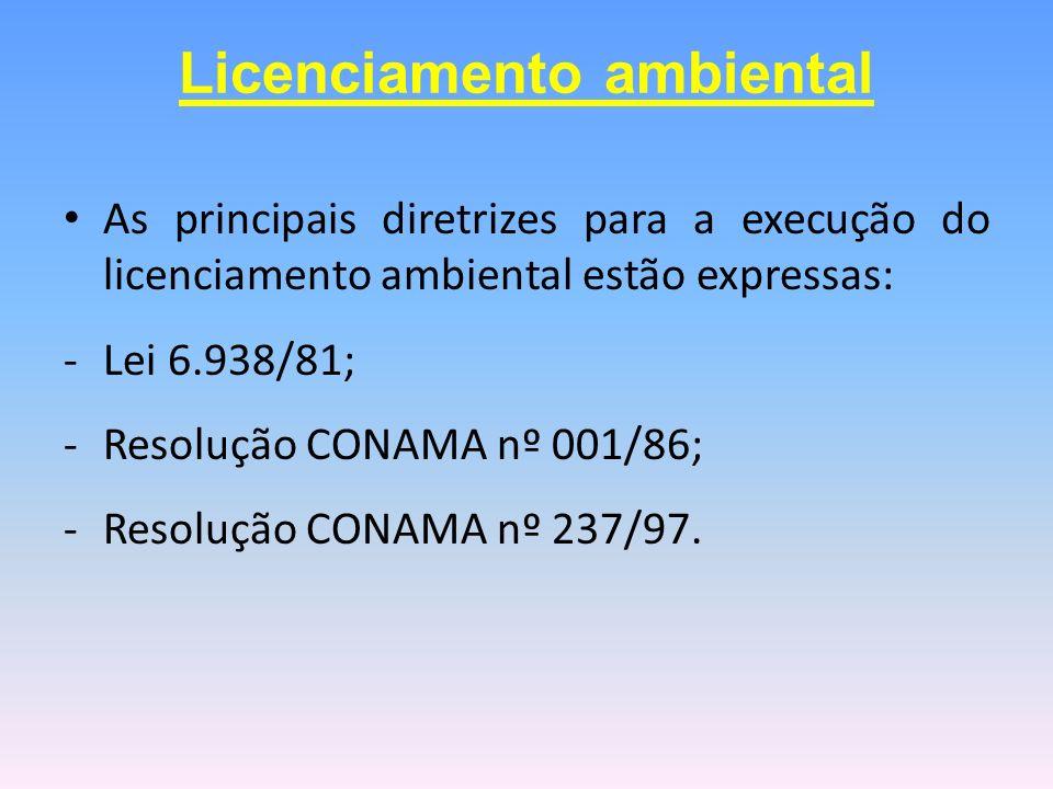 As principais diretrizes para a execução do licenciamento ambiental estão expressas: -Lei 6.938/81; -Resolução CONAMA nº 001/86; -Resolução CONAMA nº
