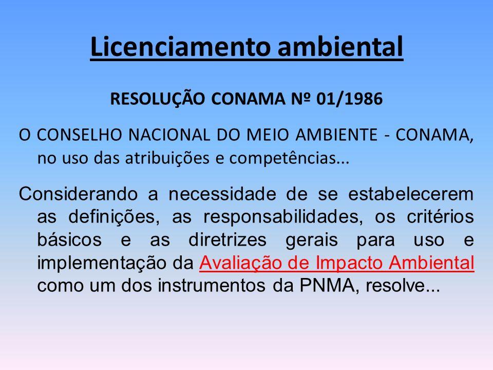 RESOLUÇÃO CONAMA Nº 01/1986 O CONSELHO NACIONAL DO MEIO AMBIENTE - CONAMA, no uso das atribuições e competências... Considerando a necessidade de se e