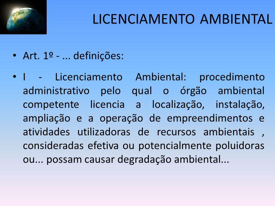 LICENCIAMENTO AMBIENTAL Art. 1º -... definições: I - Licenciamento Ambiental: procedimento administrativo pelo qual o órgão ambiental competente licen