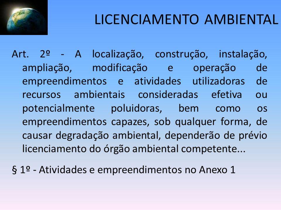 LICENCIAMENTO AMBIENTAL Art. 2º - A localização, construção, instalação, ampliação, modificação e operação de empreendimentos e atividades utilizadora