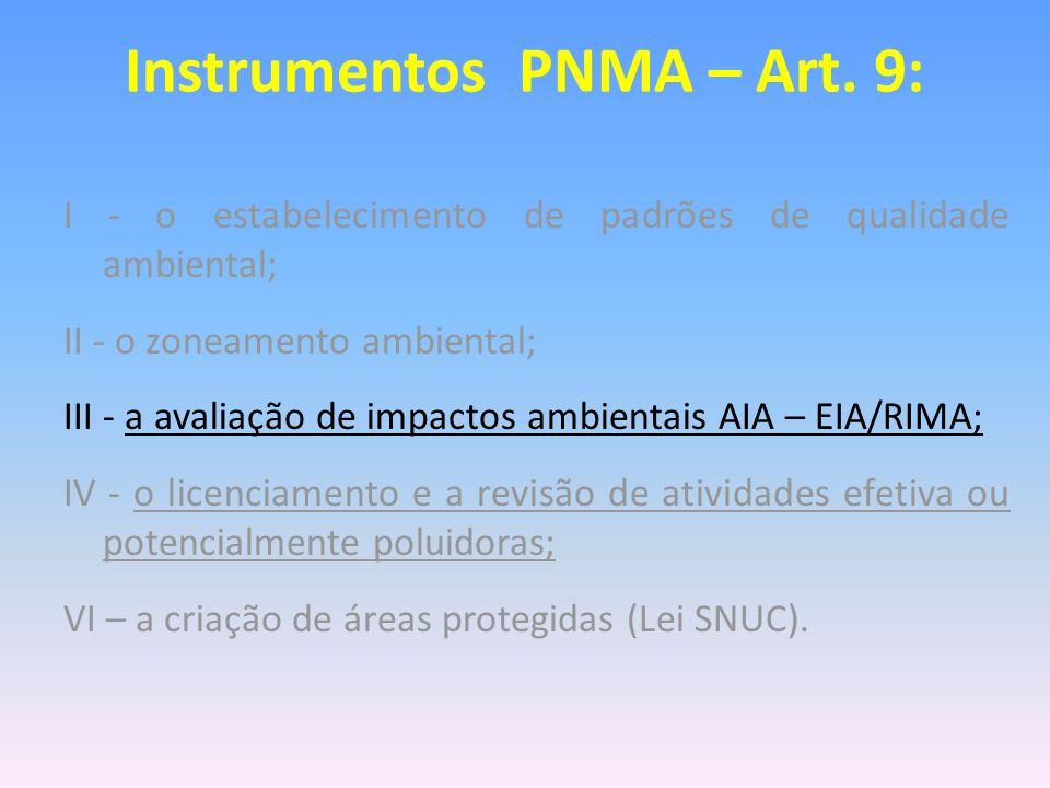 Instrumentos PNMA – Art. 9: I - o estabelecimento de padrões de qualidade ambiental; II - o zoneamento ambiental; III - a avaliação de impactos ambien