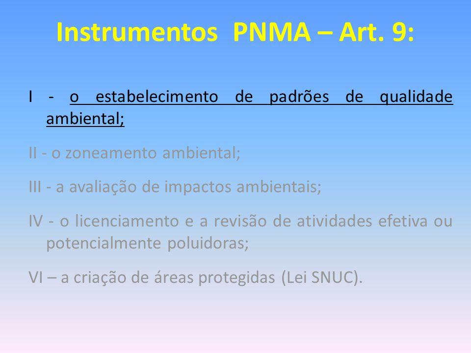 I - o estabelecimento de padrões de qualidade ambiental; II - o zoneamento ambiental; III - a avaliação de impactos ambientais; IV - o licenciamento e