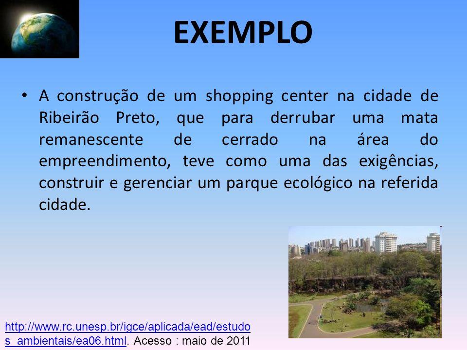 A construção de um shopping center na cidade de Ribeirão Preto, que para derrubar uma mata remanescente de cerrado na área do empreendimento, teve com