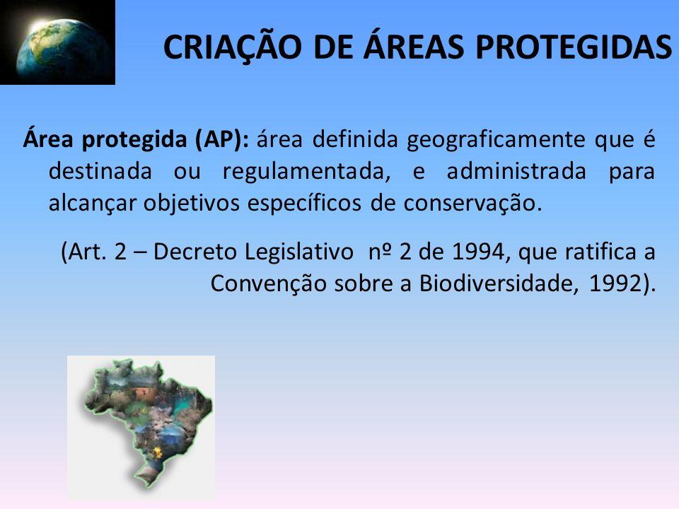 Área protegida (AP): área definida geograficamente que é destinada ou regulamentada, e administrada para alcançar objetivos específicos de conservação