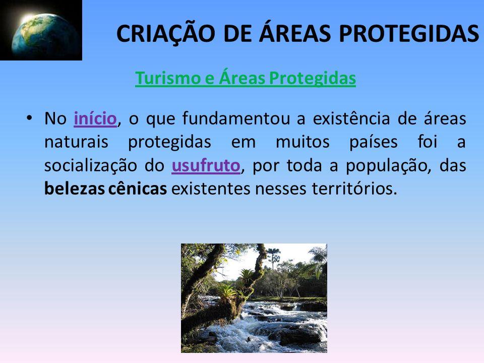Turismo e Áreas Protegidas No início, o que fundamentou a existência de áreas naturais protegidas em muitos países foi a socialização do usufruto, por