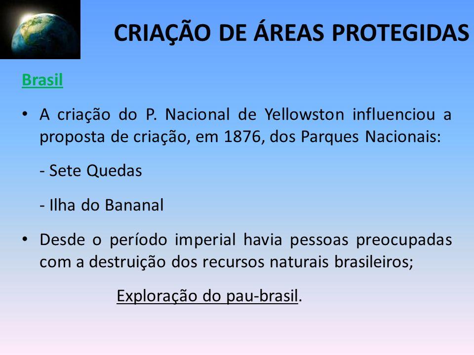Brasil A criação do P. Nacional de Yellowston influenciou a proposta de criação, em 1876, dos Parques Nacionais: - Sete Quedas - Ilha do Bananal Desde