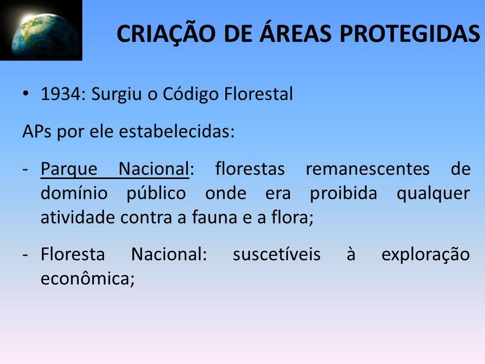1934: Surgiu o Código Florestal APs por ele estabelecidas: -Parque Nacional: florestas remanescentes de domínio público onde era proibida qualquer ati