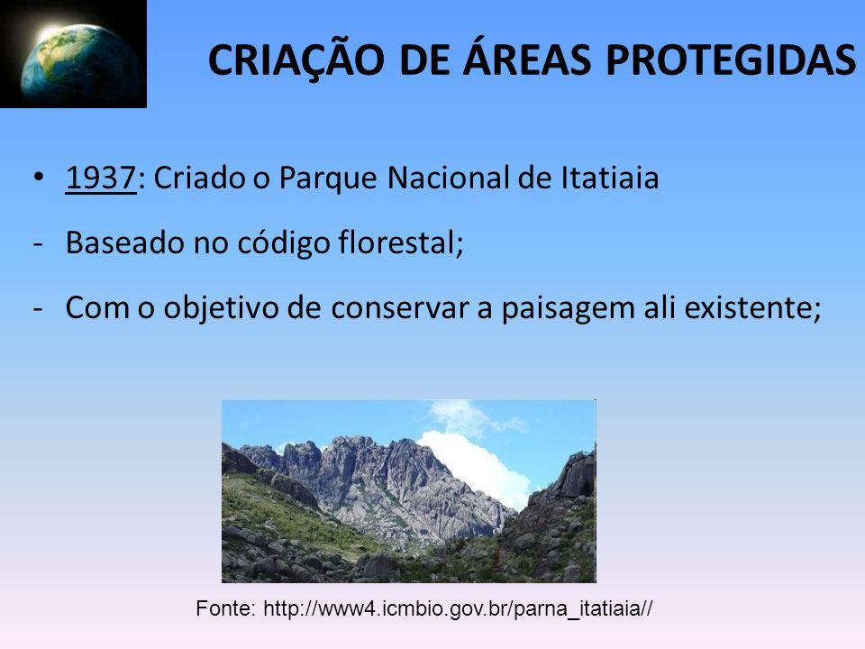 1937: Criado o Parque Nacional de Itatiaia -Baseado no código florestal; -Com o objetivo de conservar a paisagem ali existente; CRIAÇÃO DE ÁREAS PROTE
