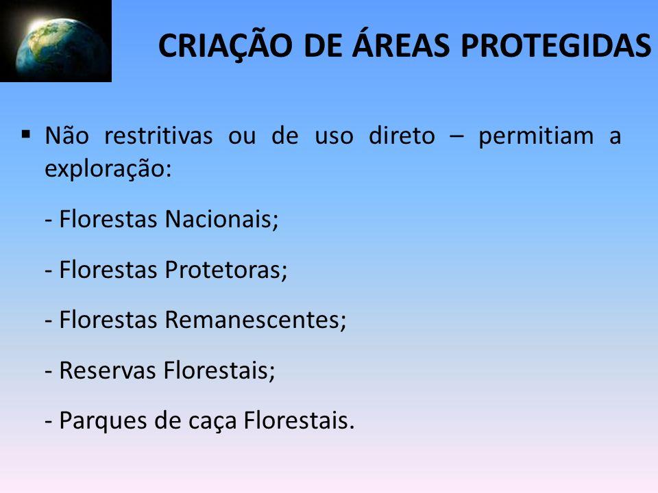 Não restritivas ou de uso direto – permitiam a exploração: - Florestas Nacionais; - Florestas Protetoras; - Florestas Remanescentes; - Reservas Flores