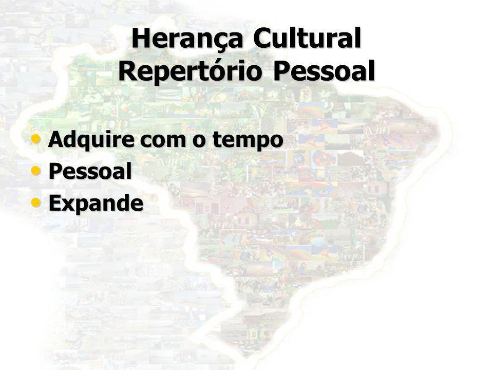 2 Herança Cultural Repertório Pessoal Adquire com o tempo Adquire com o tempo Pessoal Pessoal Expande Expande