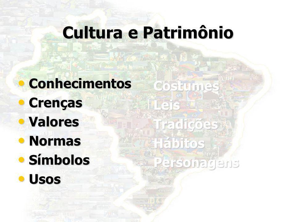 3 Cultura e Patrimônio Conhecimentos Conhecimentos Crenças Crenças Valores Valores Normas Normas Símbolos Símbolos Usos Usos CostumesLeisTradiçõesHábi