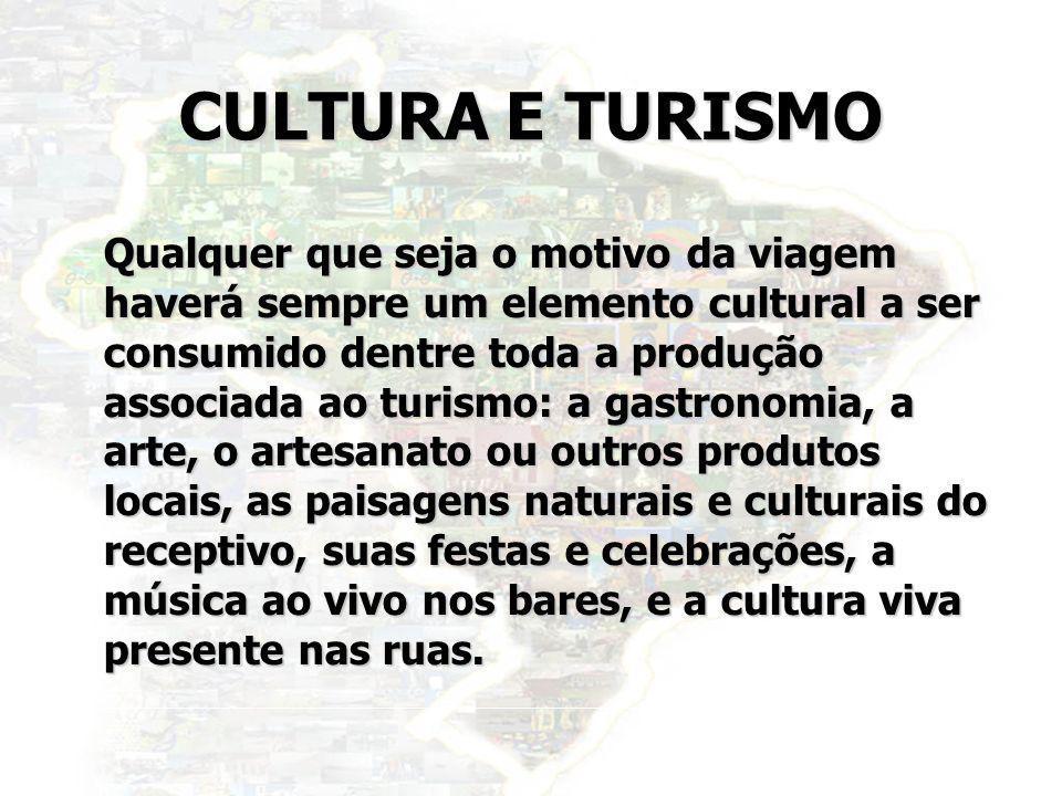 35 CULTURA E TURISMO Qualquer que seja o motivo da viagem haverá sempre um elemento cultural a ser consumido dentre toda a produção associada ao turis