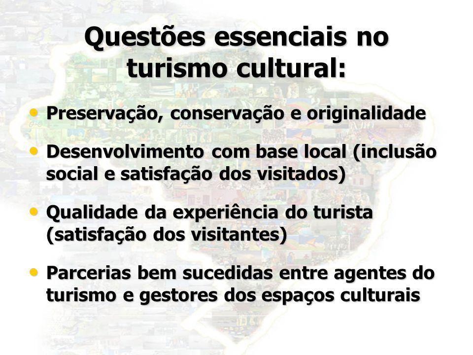 36 Questões essenciais no turismo cultural: Preservação, conservação e originalidade Preservação, conservação e originalidade Desenvolvimento com base