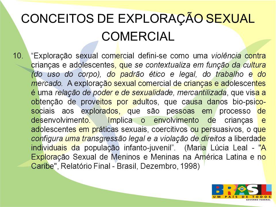 CONCEITOS DE EXPLORAÇÃO SEXUAL COMERCIAL 10.Exploração sexual comercial defini-se como uma violência contra crianças e adolescentes, que se contextual