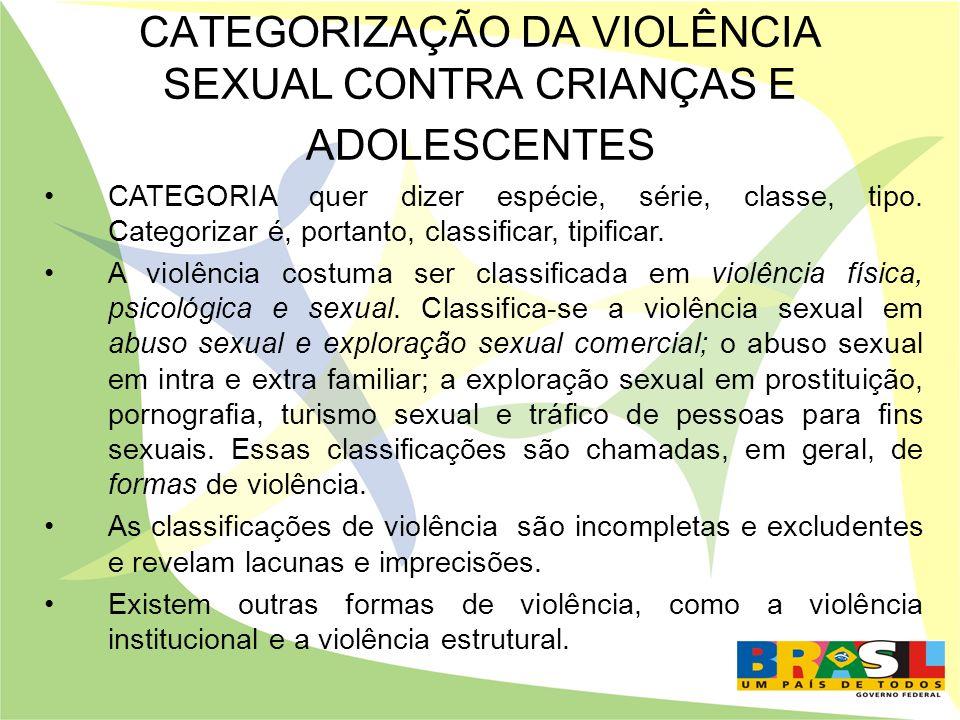 CATEGORIZAÇÃO DA VIOLÊNCIA SEXUAL CONTRA CRIANÇAS E ADOLESCENTES CATEGORIA quer dizer espécie, série, classe, tipo. Categorizar é, portanto, classific