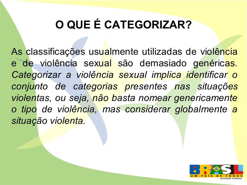 O QUE É CATEGORIZAR? As classificações usualmente utilizadas de violência e de violência sexual são demasiado genéricas. Categorizar a violência sexua
