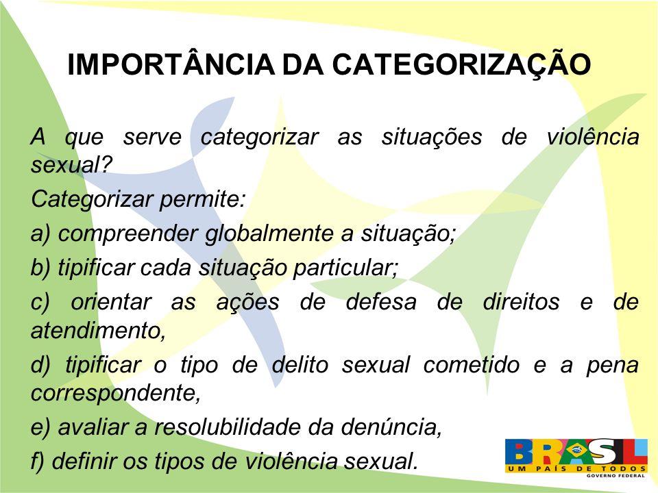 IMPORTÂNCIA DA CATEGORIZAÇÃO A que serve categorizar as situações de violência sexual? Categorizar permite: a) compreender globalmente a situação; b)