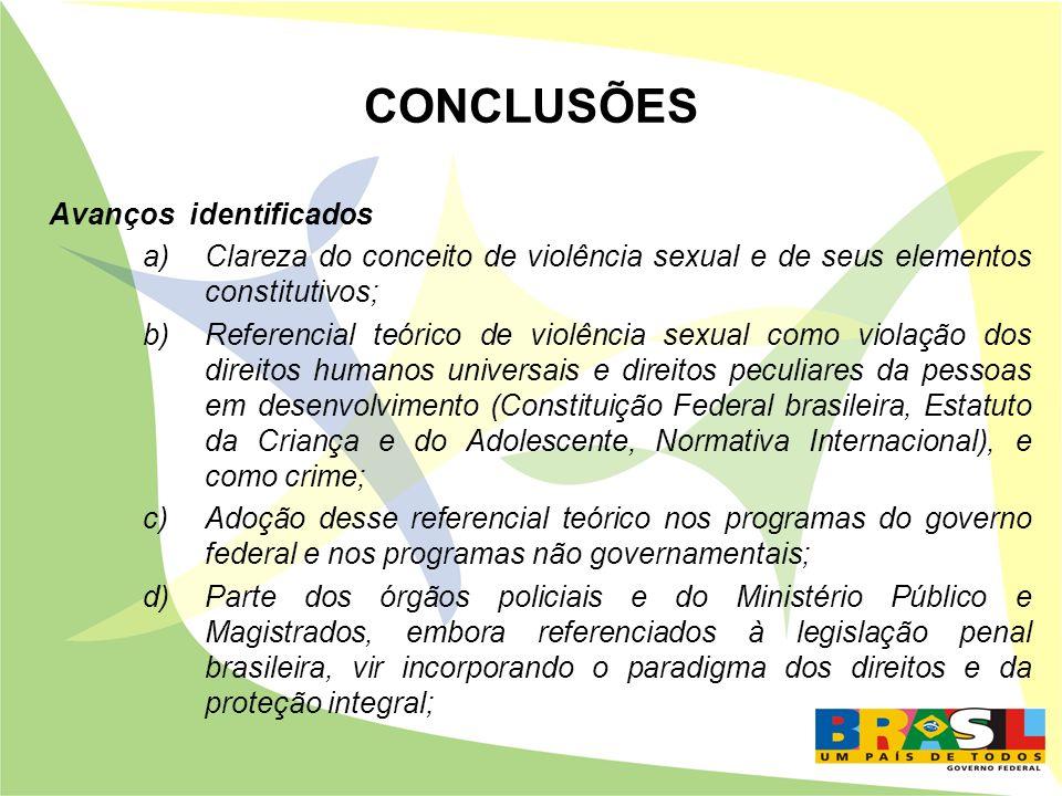CONCLUSÕES Avanços identificados a)Clareza do conceito de violência sexual e de seus elementos constitutivos; b)Referencial teórico de violência sexua