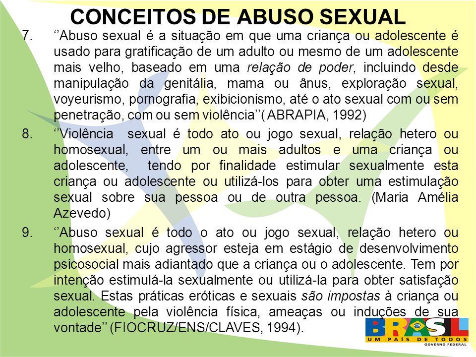 CONCEITOS DE ABUSO SEXUAL 7.Abuso sexual é a situação em que uma criança ou adolescente é usado para gratificação de um adulto ou mesmo de um adolesce