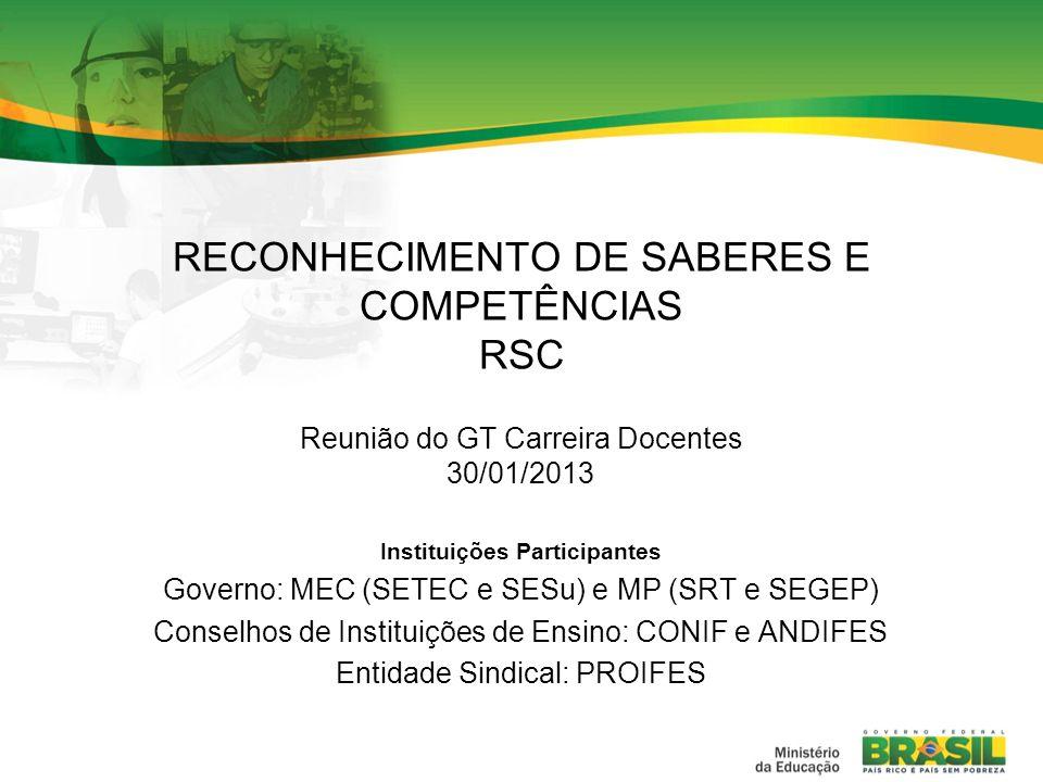 RECONHECIMENTO DE SABERES E COMPETÊNCIAS RSC Reunião do GT Carreira Docentes 30/01/2013 Instituições Participantes Governo: MEC (SETEC e SESu) e MP (S