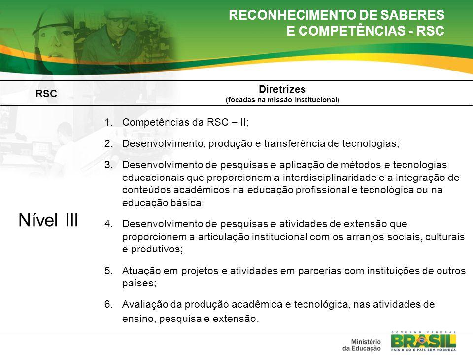 RSC Diretrizes (focadas na missão institucional) Nível III 1.Competências da RSC – II; 2.Desenvolvimento, produção e transferência de tecnologias; 3.D