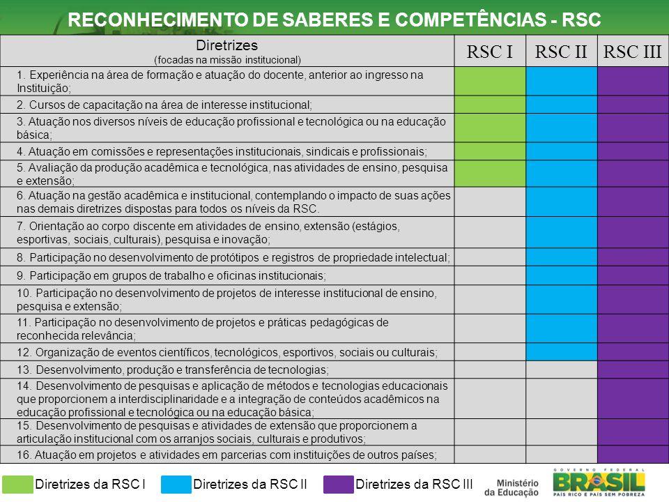 Diretrizes (focadas na missão institucional) RSC IRSC IIRSC III 1. Experiência na área de formação e atuação do docente, anterior ao ingresso na Insti