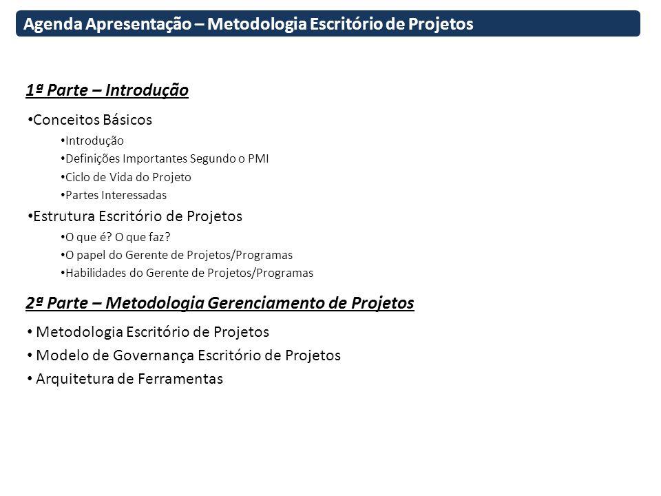 Agenda Apresentação – Metodologia Escritório de Projetos 1ª Parte – Introdução 2ª Parte – Metodologia Gerenciamento de Projetos Conceitos Básicos Intr