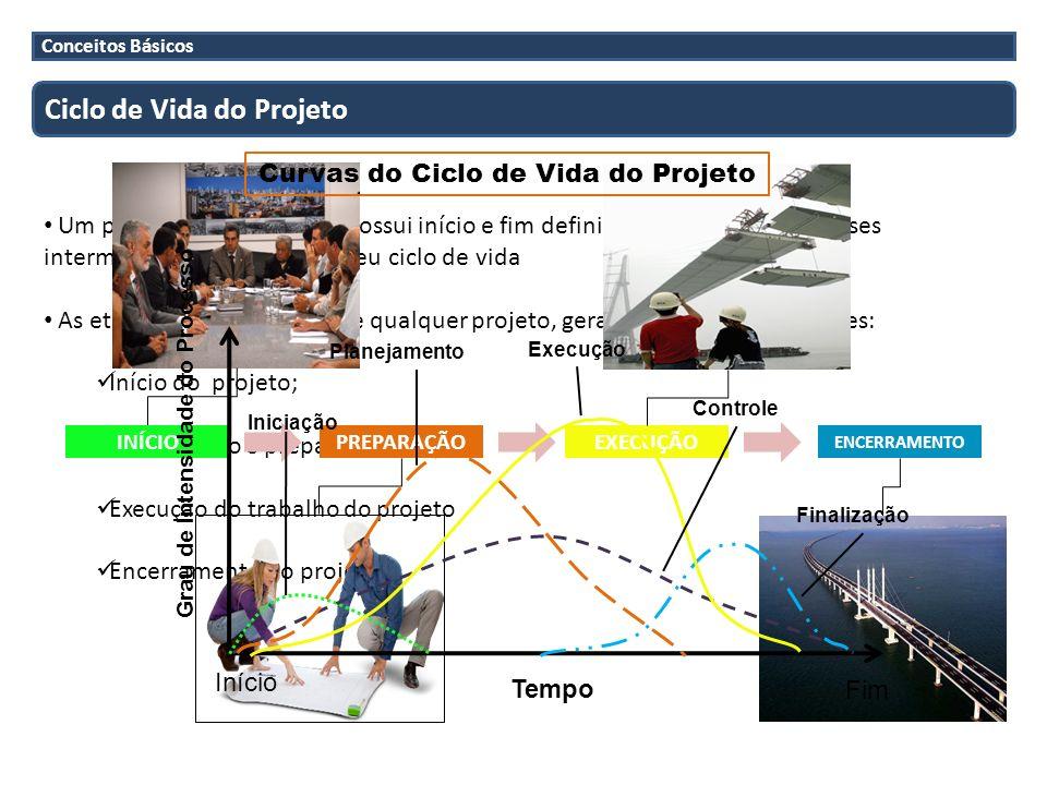 Conceitos Básicos Ciclo de Vida do Projeto Um projeto, por definição, possui início e fim definidos e é composto de fases intermediárias que definem s