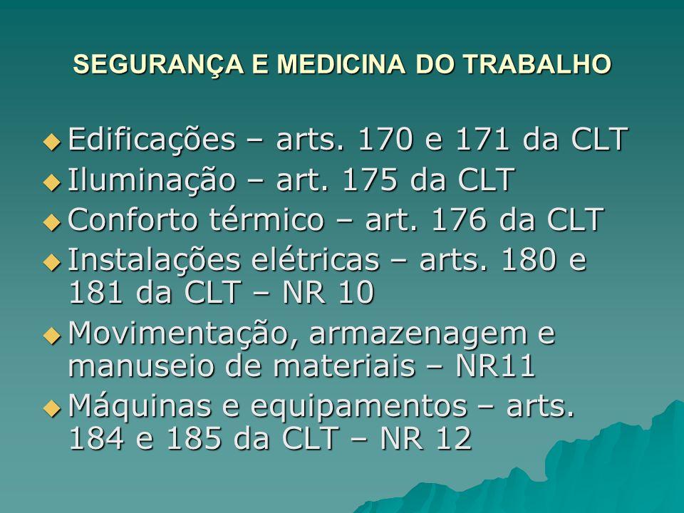 SEGURANÇA E MEDICINA DO TRABALHO Edificações – arts. 170 e 171 da CLT Edificações – arts. 170 e 171 da CLT Iluminação – art. 175 da CLT Iluminação – a