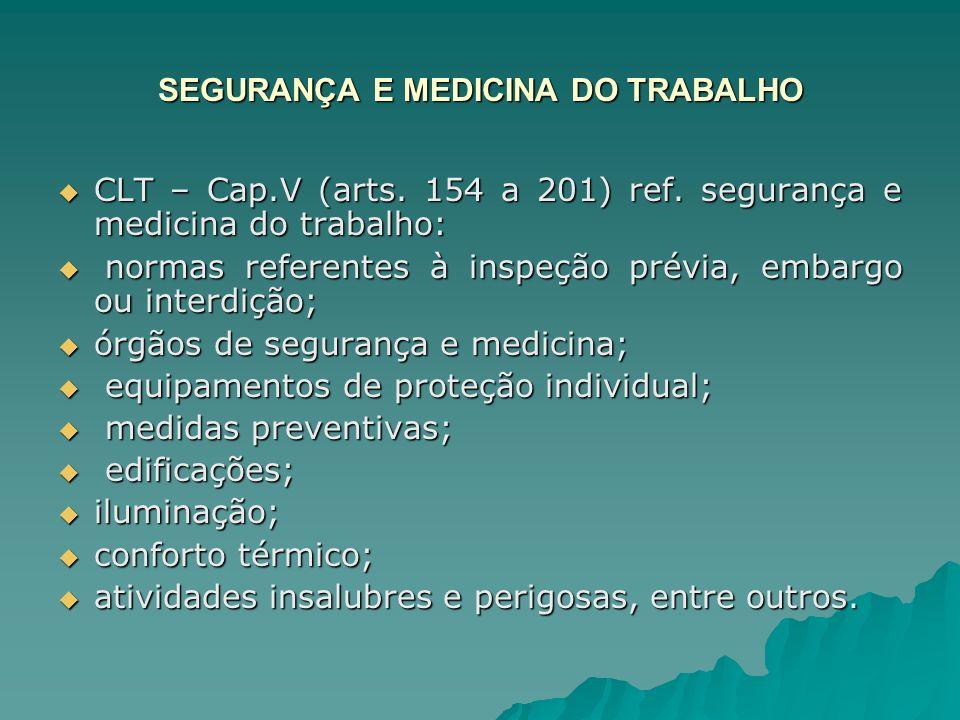 SEGURANÇA E MEDICINA DO TRABALHO CLT – Cap.V (arts. 154 a 201) ref. segurança e medicina do trabalho: CLT – Cap.V (arts. 154 a 201) ref. segurança e m