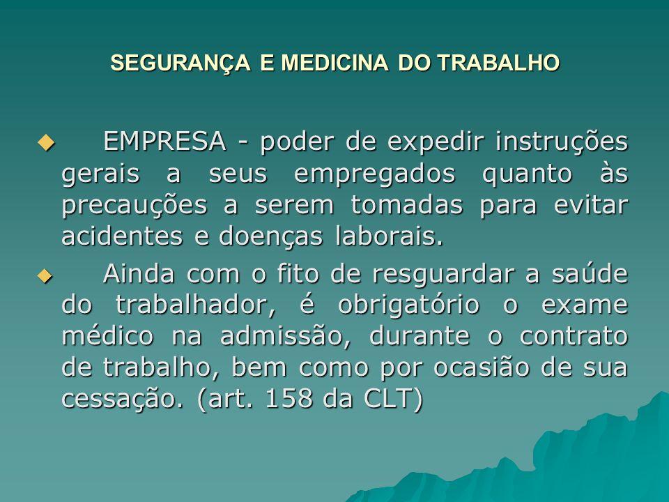 SEGURANÇA E MEDICINA DO TRABALHO EMPRESA - poder de expedir instruções gerais a seus empregados quanto às precauções a serem tomadas para evitar acide