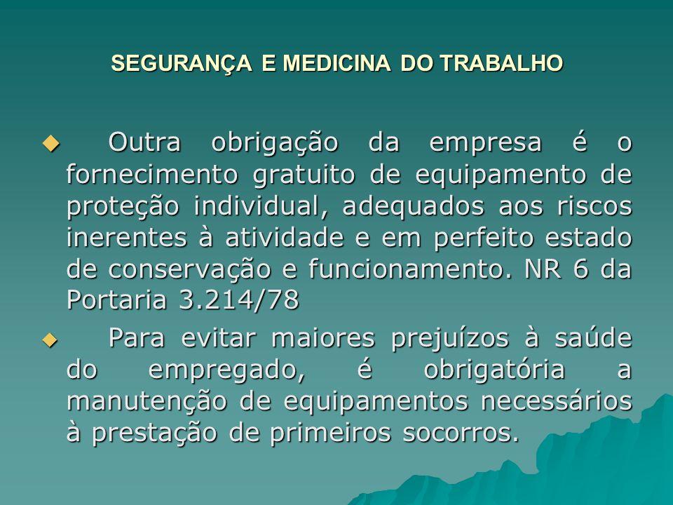 SEGURANÇA E MEDICINA DO TRABALHO Condições sanitárias – art.