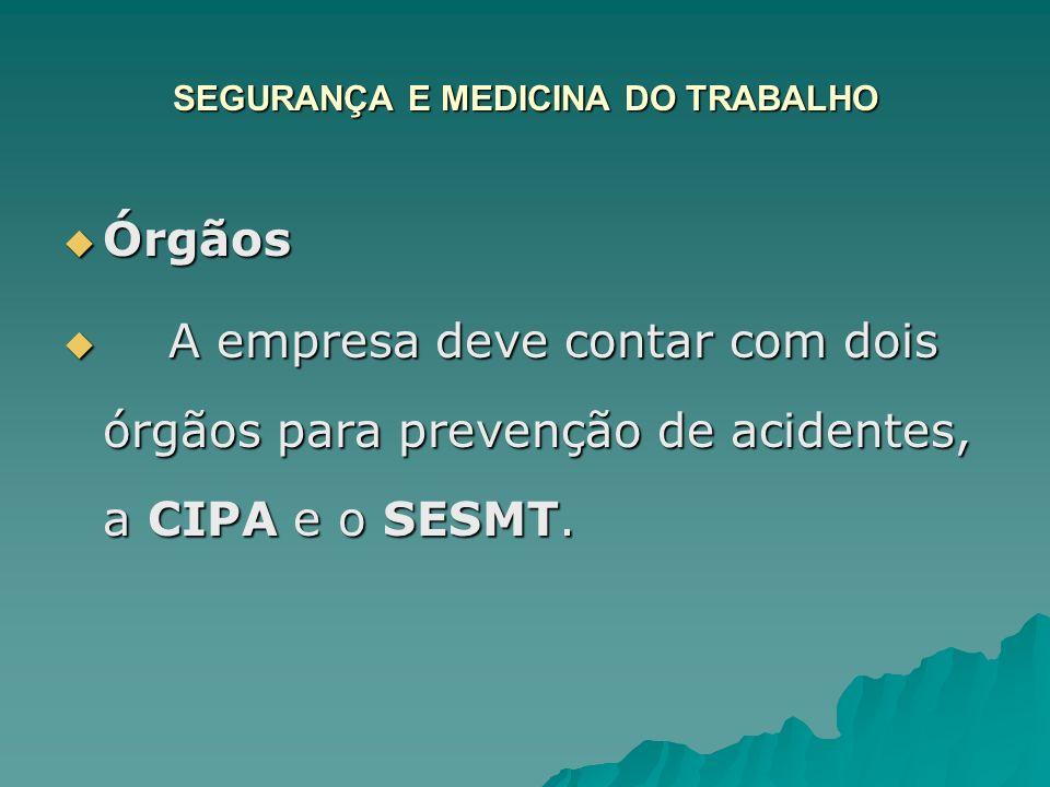 SEGURANÇA E MEDICINA DO TRABALHO Órgãos Órgãos A empresa deve contar com dois órgãos para prevenção de acidentes, a CIPA e o SESMT. A empresa deve con
