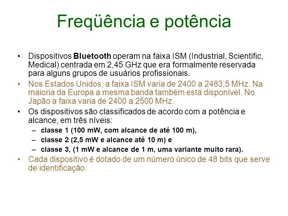 Freqüência e potência Dispositivos Bluetooth operam na faixa ISM (Industrial, Scientific, Medical) centrada em 2,45 GHz que era formalmente reservada