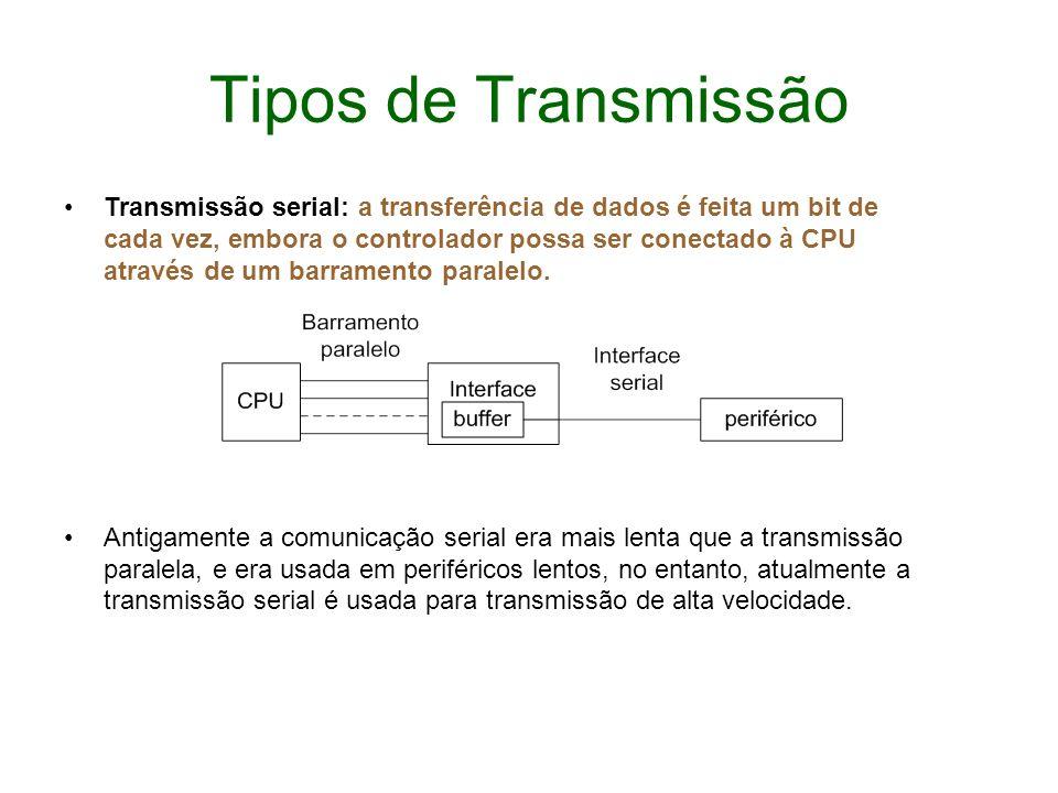 Tipos de Transmissão Transmissão serial: a transferência de dados é feita um bit de cada vez, embora o controlador possa ser conectado à CPU através d