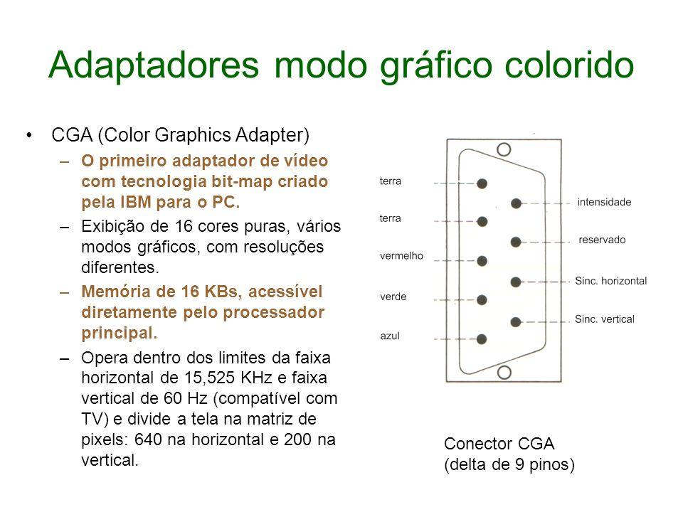 Adaptadores modo gráfico colorido CGA (Color Graphics Adapter) –O primeiro adaptador de vídeo com tecnologia bit-map criado pela IBM para o PC. –Exibi