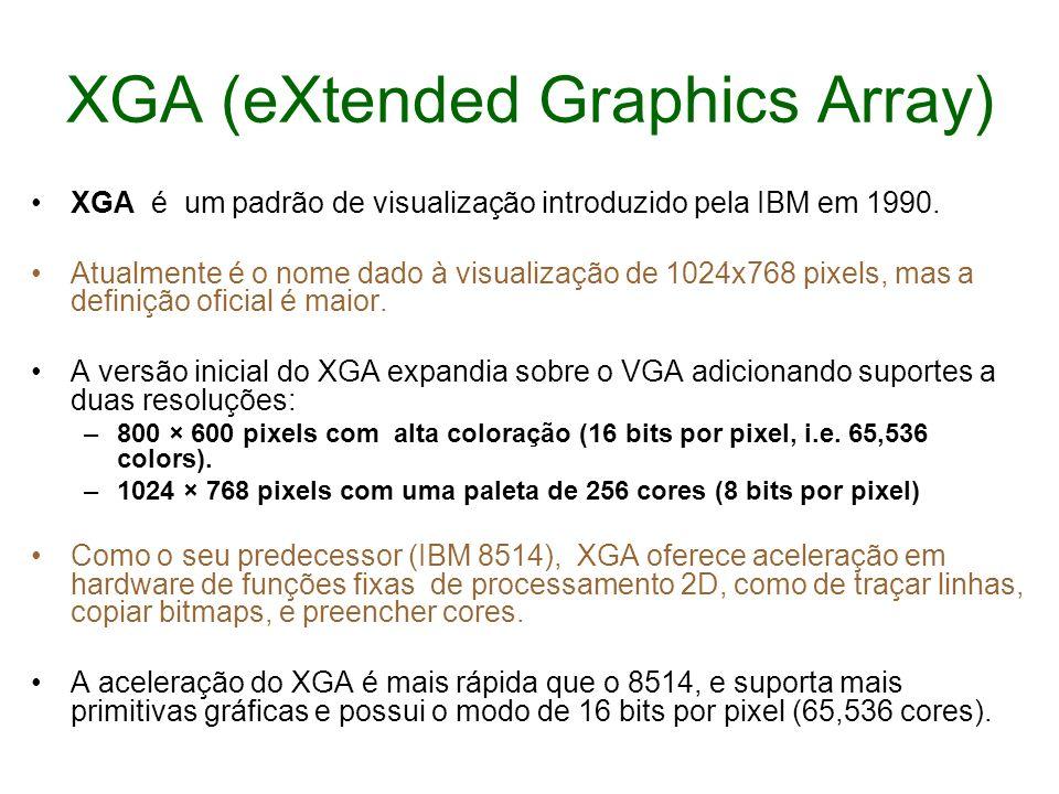 XGA (eXtended Graphics Array) XGA é um padrão de visualização introduzido pela IBM em 1990. Atualmente é o nome dado à visualização de 1024x768 pixels