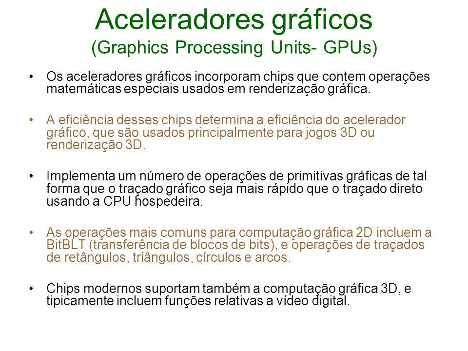 Aceleradores gráficos (Graphics Processing Units- GPUs) Os aceleradores gráficos incorporam chips que contem operações matemáticas especiais usados em