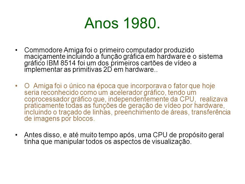 Anos 1980. Commodore Amiga foi o primeiro computador produzido maciçamente incluindo a função gráfica em hardware e o sistema gráfico IBM 8514 foi um