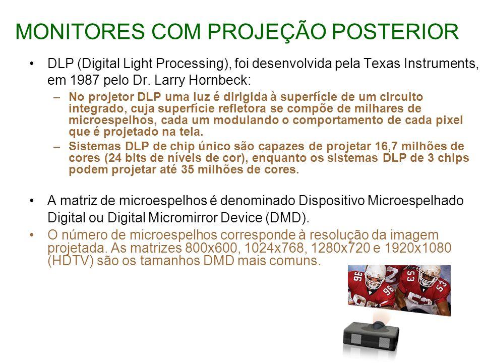 MONITORES COM PROJEÇÃO POSTERIOR DLP (Digital Light Processing), foi desenvolvida pela Texas Instruments, em 1987 pelo Dr. Larry Hornbeck: –No projeto
