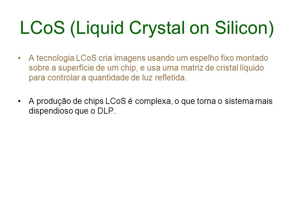 LCoS (Liquid Crystal on Silicon) A tecnologia LCoS cria imagens usando um espelho fixo montado sobre a superfície de um chip, e usa uma matriz de cris